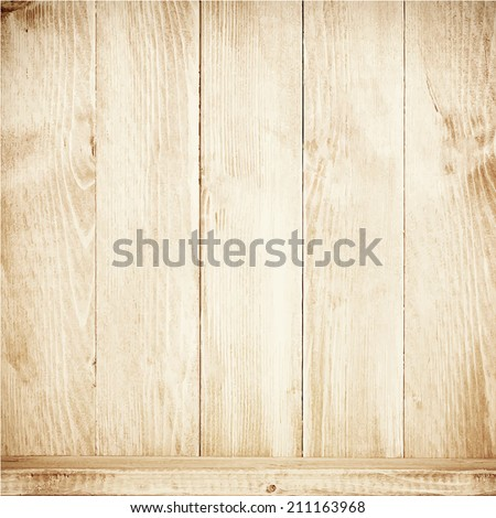 Old brown wooden planks texture with shelf. Vector wooden background - stock vector