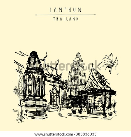 Old buddhist temple in Lamphun, Thailand - hand drawn postcard in vector