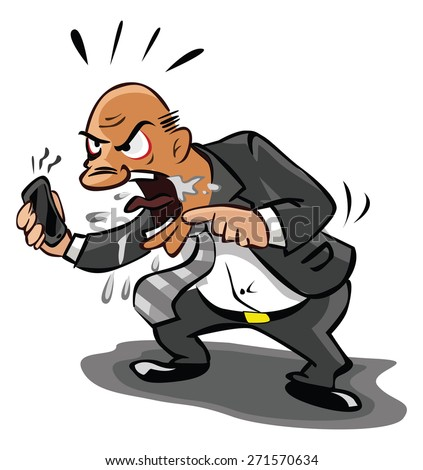 Old Business man angry at phone - stock vector