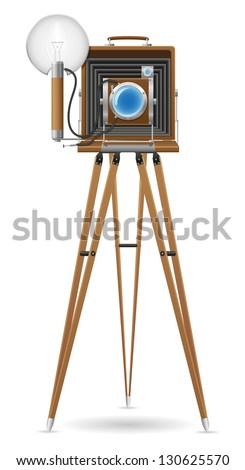 old camera photo vector illustration isolated on white background - stock vector