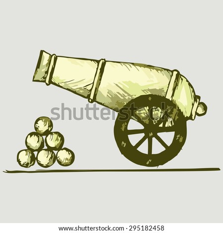 Old cannon with balls. Vector Image - stock vector