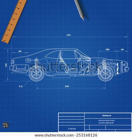 Old car blueprint vector illustration eps stock vector 2018 old car blueprint vector illustration eps 10 malvernweather Choice Image