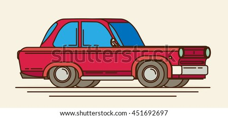 Old car. Flat styled vector illustration