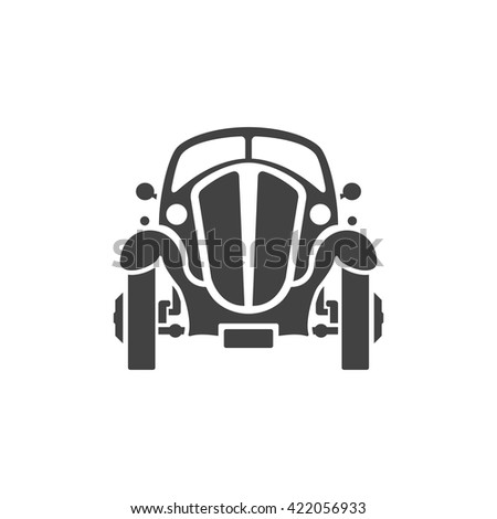 Old Car Isolated on white background vector icon in retro style. Can be used for logo or badge.