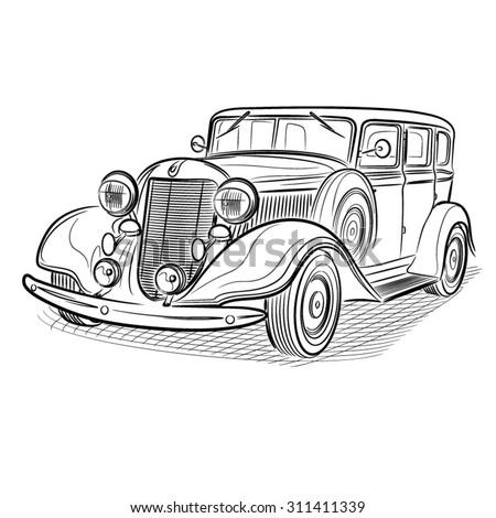 Old Car Pen Illustration