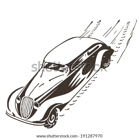 Old car racing at high speed, leaves a trail - stock vector
