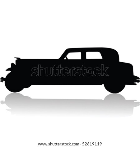 Old car silhouette - stock vector