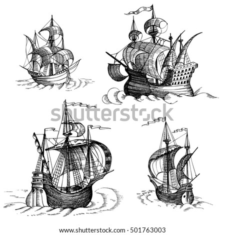 Vintage Sailboat Sketch Sailboat Stock ...
