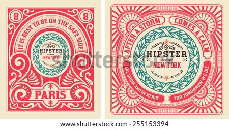 Old cards with floral details. Elements organized by layers. - stock vector