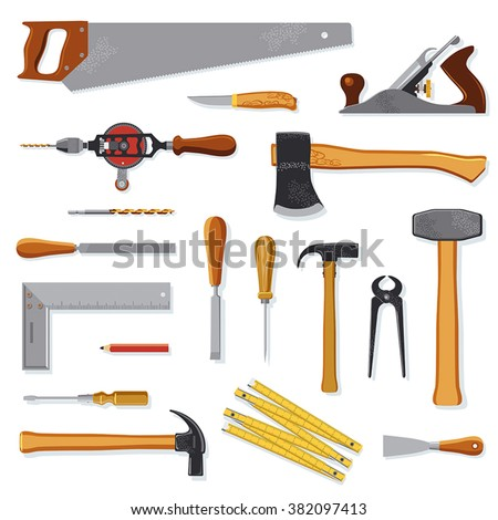 Old carpenter tools vector collection isolated on white