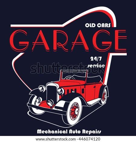 Retro garage poster apparel printing vector stock vector for Garage prints