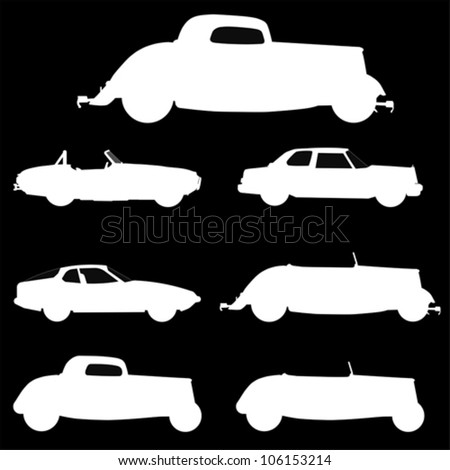 old cars, vector - stock vector