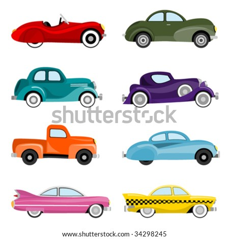 old cars vector - stock vector