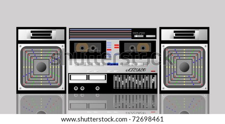 Old cassette player is shown in the picture. - stock vector