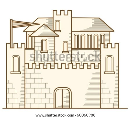 Old castle - graphics - stock vector
