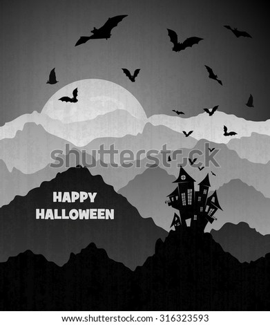 old castle in Halloween mountains with big moon and bats, black and white old style illustration