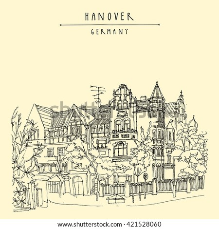 Old center of Hanover, Germany, Europe. Art Nouveau historical building, trees. Freehand drawing. Travel sketch. Vintage postcard, poster or book illustration. Vector