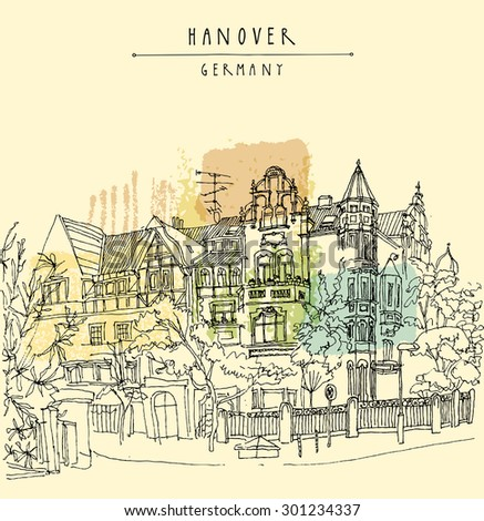 Old center of Hanover, Germany, Europe. Vector illustration. Art Nouveau historical building, trees. Line art. Freehand drawing. Quality travel sketch, hand lettering. Vintage postcard poster template