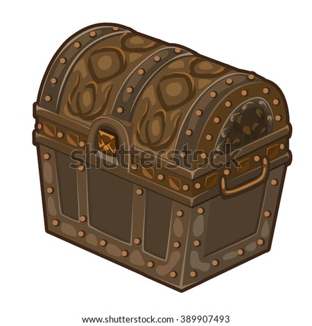 Old chest isolated on white background. Vector.