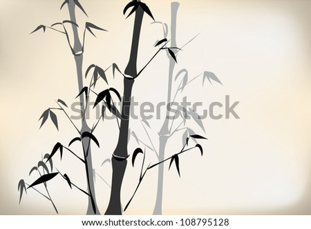 Old Chinese bamboo hand drawing,in a foggy forrest