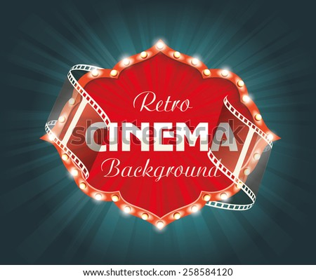Old Cinema banner with stripe roll. Vector cinema background. - stock vector
