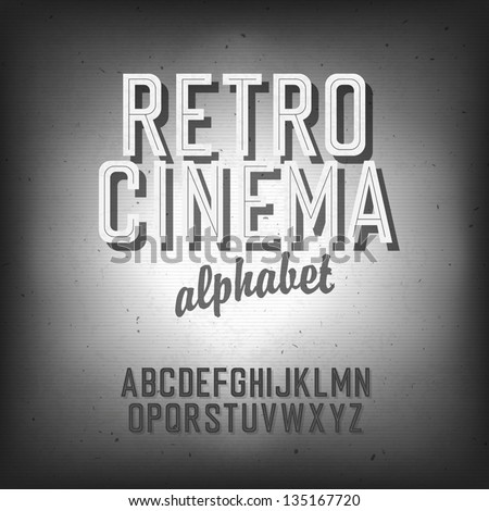 Old cinema styled alphabet. With textured background, vector, EPS10 - stock vector
