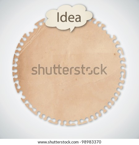 Old Circle Note Paper with Conceptual Idea - stock vector