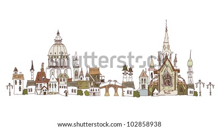 Old city background - stock vector