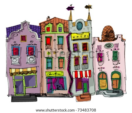 old city facades - stock vector