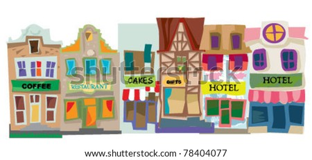old city facades - stock vector