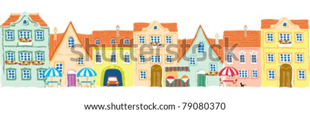 old city facades (painted) - stock vector