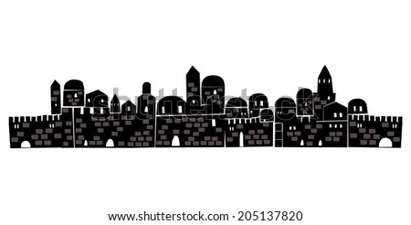 Old City, Middle East, Ancient,  Illustration - stock vector