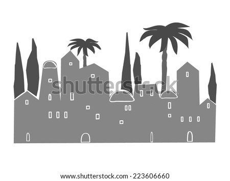 Old City, Middle East, Ancient, Stylization, Vector llustration - stock vector
