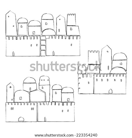 Old City, Middle East Town,Vector Illustration - stock vector