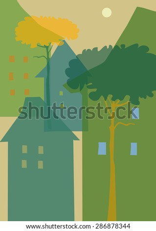 Old City, Retro house , Vector illustration