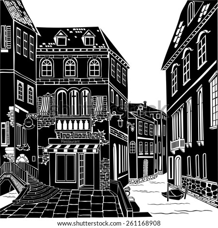 Old city street. Vector Illustration.