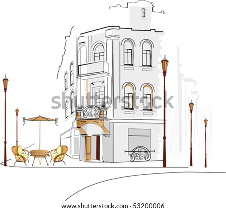 Old city with a cafe - stock vector