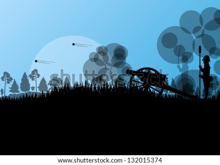 Old civil war battle field warfare soldier troops and artillery cannon guns detailed silhouettes illustration background vector - stock vector