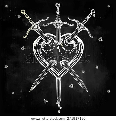 Old classic vintage elegant hand drawn linear tattoo illustration. Bleeding heart stabbed by daggers. Tarot card Three of swords, Valentine holiday design.Vector isolated, chalk blackboard background. - stock vector