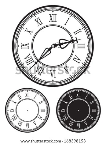 Old Clock face, antique watch, Vector illustration with separate clock needles