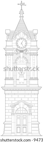 Old clock tower - stock vector