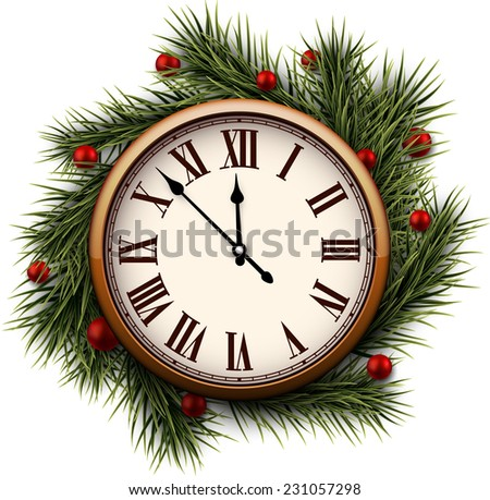 Old clock with roman numbers. Vector illustration.   - stock vector