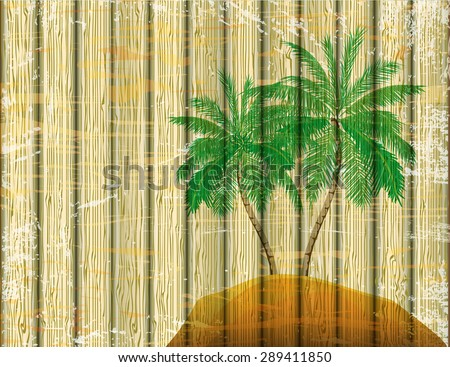 Old color coconut tree on wooden texture background. vector illustrator - stock vector