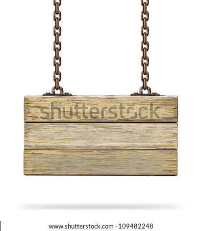 Old color wooden board with rusty chain. Vector illustration - stock vector