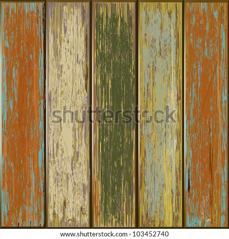 Old color wooden texture background. vector illustrator - stock vector