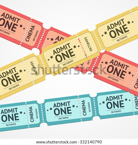 Old Colorful Tickets For Events Background. Vector illustration - stock vector