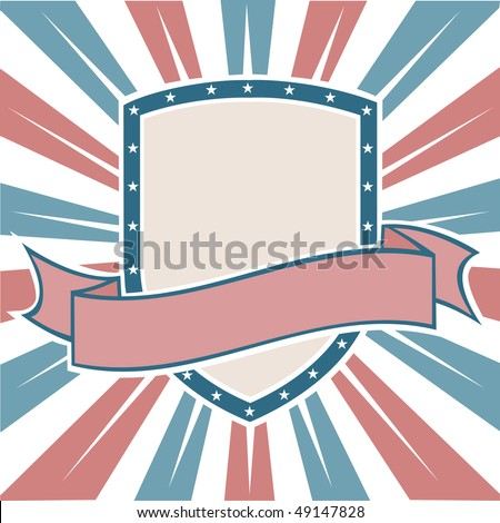 Old Colors American Shield - stock vector