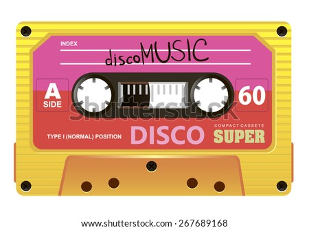old compact audio cassette disco style - stock vector
