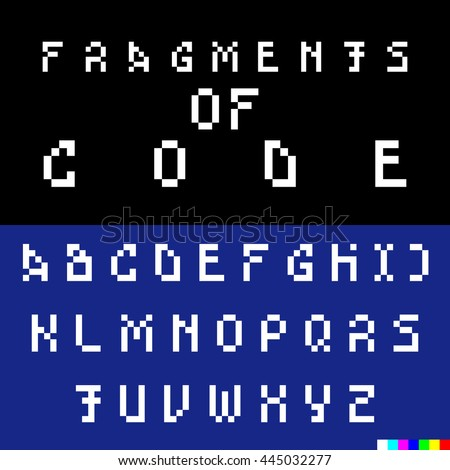 Old computer bitmap pixel font. Vector set of old-looking broken and hacked letters. English alphabet suitable to illustrate articles about hackers or technical issues on websites. White font on black