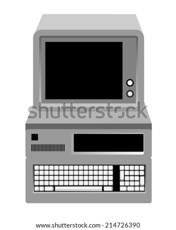 old computer with a keyboard and monitor on a white background